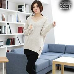 Set: Hooded Button-Accent Knit Top + Inset A-Line Skirt Leggings from #YesStyle <3 Soneed YesStyle.com