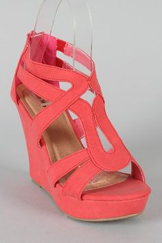 Amazon.com: Lindy 03 Strappy Open Toe Platform Wedge Coral: Shoes