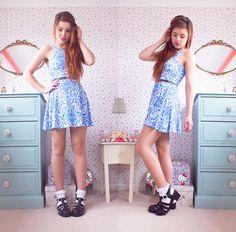 Missguided Skater Dress, Juju Jelly Shoes - Porcelain Doll - Amelia Breading
