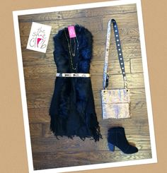 The perfect outfit for your next Girl's Night Out!   Black Sleeveless Dress $65  Black Fur Trim Vest $75  Rhinestone Circle Pendant $15  Chan Luu Necklace $85  Hammitt LSM Zion Gold $485  Toms Lunata Black Suede $129 ☎️ (210) 824-9988