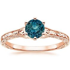 THIS TEAL SAPPHIRE RING two of my favorite colors!  14K Rose Gold Sapphire Hudson Ring from Brilliant Earth