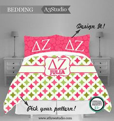 """DELTA ZETA Complete Bedding Set by AThreeStudio on Etsy, $395.00      ●Twin Woven Duvet Cover $150  ●Twin Fitted Sheet $60  ●Twin Flat Sheet $89  ●Two Standard Shams (not shown in photo) $44  ●Two Queen Pillow Cases $40  ●One 14"""" Square Pillow (not shown in photo) $39"""