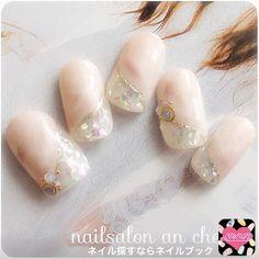 an cherir ? Fabulous Nails, Gorgeous Nails, Bridal Nails, Wedding Nails, Cute Nails, Pretty Nails, Japan Nail Art, Fingernails Painted, Nail Techniques