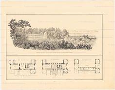 Schloss Tegel, Berlin, remodelled by Schinkel betwen 1820-24. perspective and floor plans.