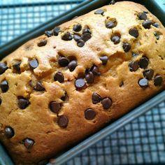 Pumpkin Chocolate Chip Bread, sub applesauce for oil, greek yogurt for sour cream, and sugar sub