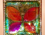 Butterfly Lighted Artistic LED Glass Block Hand Painted Lamp