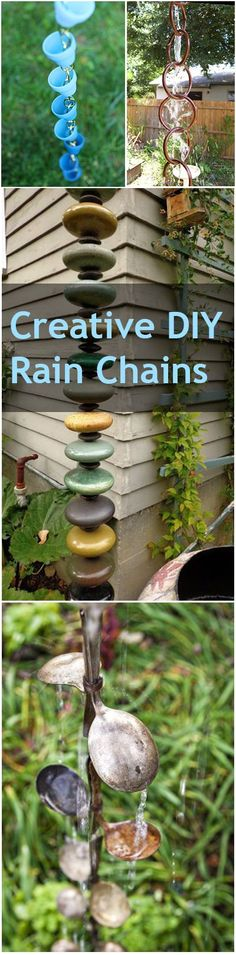 10 Creative DIY Rain Chain Ideas Creative DIY Rain Chains- great ideas for decorative and unique rain chains. The post 10 Creative DIY Rain Chain Ideas appeared first on Outdoor Diy. Outdoor Crafts, Outdoor Projects, Diy Projects, Outdoor Art, Outdoor Ideas, Outdoor Living, Pergola Diy, Diy Patio, Patio Wall