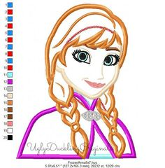 Frozen Anna Princess Machine Embroidery Applique by UDOappliques