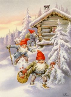 Vintage Christmas by Lars Carlsson Norwegian Christmas, Old Christmas, Old Fashioned Christmas, Christmas Gnome, Scandinavian Christmas, Christmas Greetings, Vintage Christmas Images, Christmas Pictures, Christmas Illustration