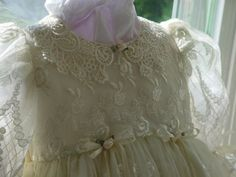 Ivory Victorian Lace christening gowncapbib by DbinkieOriginals