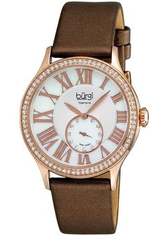 Price:$113.52 #watches Burgi BUR056RG, This exceptional Burgi Swiss women's diamond timepiece is perfect for any occasion with its graceful features. The bezel of this watch features crystals with 11 genuine diamonds on the seconds subdial and beautifully designed dial.