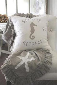 Seaside Retreat Linen Seahorse Pillow Cover. Custom Designed Seahorse. Size: 22 x 22. Hidden zipper closure. 100% linen. Faded Natural Linen with White Linen Seahorse or White Linen with Natural Seahorse. cottage coastal