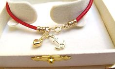 14K solid yellow gold anchor heart charms red leather bracelet nautical love new | Jewelry & Watches, Fashion Jewelry, Charms & Charm Bracelets | eBay!