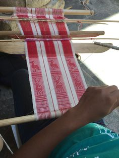 When I have started people weaving on a backstrap looms, I start them with a narrow warp that doesn't require any sticks. Once they can do plain weave, warp-faced, I show them how to make a p…