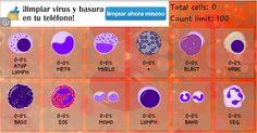 Podemos utilizar un programa para el recuento de las distintas células leucocitarias como el que vemos(BloodDroid Cell) para ir anotando cada una que veamos hasta llegar a 100.