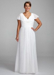 Capture pure elegance and grace in this demure wedding gown!  Sheath bodice, soft chiffon A-Line silhouette features ultra-feminine v neckline and flutter sleeves.  Empire waist creates a flattering figure.  Sweep train.  Available in Ivory.  Fully lined. Back zip. Imported polyester. Dry clean only.