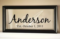 Personalized Family Name Sign Picture Frame 9x19