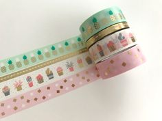 Masking Tape - Washi Tape Set Goldfoil Ananas & Kakteen - ein Designerstück von Herz-Buffet bei DaWanda