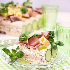 Smörgåstårta med skinka & leverpastej YUM, ska få dit ost också!!