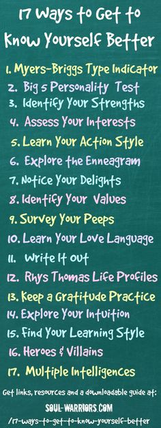 A full list of resources - including links to learn more and take quizzes - to get to know yourself better. Includes a downloadable bonus guide. Check it out at www.soul-warriors...