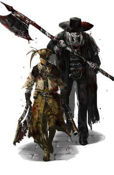 Bloodborne Log by ル一キ一ドリフト Bloodborne Game, Bloodborne Characters, Fantasy Characters, Dark Blood, Old Blood, Arte Dark Souls, Soul Saga, Video Game Art, Video Games