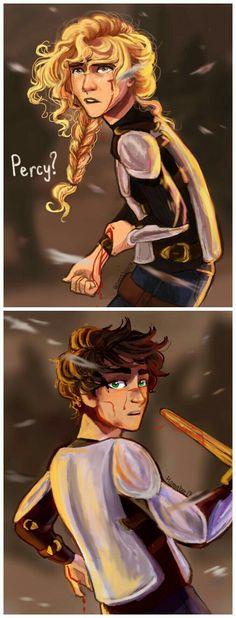In a flash I understood what had happened…. Annabeth had intercepted the knife with her own body. (The Last Olympian, pg. <<< They're too young here to be in The Last Olympian anyway I love this art Percy Jackson Fandom, Percy Jackson Film, Percy Jackson Characters, Percy Jackson Memes, Percy Jackson Annabeth Chase, Percabeth, Solangelo, Percy Jackson Personajes, Dibujos Percy Jackson