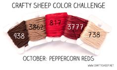 You may recall a couple posts I did in September about Crafty Sheep's Color Challenge . Dmc Embroidery Floss, Cross Stitch Embroidery, Hand Embroidery, Cross Stitch Floss, Dmc Cross Stitch, Yarn Color Combinations, Crafty Hobbies, Friendship Bracelets Designs, Color Studies