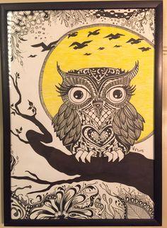 Owl Zentangle drawing