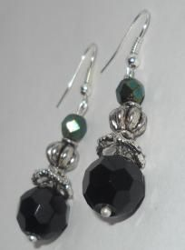 Made by me...No others like these....One of  a kind Stunning black & Emerald green  swarovski crystal earrings $13.99