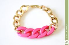 Color Blocking Chunky Chain Bracelet - Pink