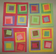 Preschool activity--construction paper and stick glue--Shapes and Colors kindergartenart Preschool Colors, Preschool Activities, Preschool Shapes, Kids Shapes, Learning Shapes, Square Art, Kindergarten Art, Color Shapes, Art Plastique