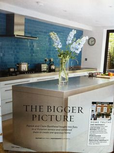 Sea green turquoise tiles in kitchen - 25 Beautiful Homes magazine March 2013, article Emily Peck, photos Clive Doyle