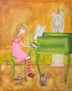 just love that the girl is playing piano. might be a cute print to have on a piano, actually....