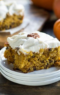 Pumpkin Chocolate Chip Bars with Cream Cheese Frosting.