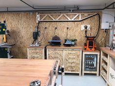 Werkstatt by cosma design - heimwerker-helden. Workshop Storage, Home Workshop, Garage Workshop, Workshop Ideas, Workbench Designs, Diy Workbench, Industrial Workbench, Folding Workbench, Garage Organisation