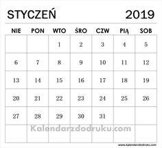 Edytuj Kalendarz Styczen 2019 I Pobierz Plik PDF Bujo, Words, Geography, Horse