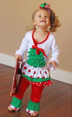 Girls Christmas outfit Christmas Tree Outfit by babyOclothing Christmas Tree Outfit, Toddler Christmas Outfit, Girls Christmas Outfits, Christmas Ideas, Girl Outfits, Cute, Etsy, Awesome, Fashion