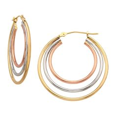 Can't decide on one hue? Then Don't!  Get these triple hoop earrings in 10K tri-color gold from @Sears and Make it a golden month! #MayisGoldMonth #MIGM #Sears #JumpinThroughHoops #Hoops #Earrings
