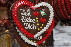 """A gingerbread heart reads """"Ich liebe Dich"""" meaning """"I love you""""."""