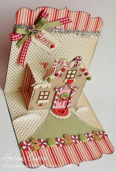 Karen Burniston's December Designer Pop 'n Cuts Challenge - Gingerbread House Card. Cute Christmas card - check out their link. Diy Christmas Cards, Xmas Cards, Diy Cards, Handmade Christmas, Holiday Cards, Christmas Crafts, Cottage Christmas, Christmas Room, Holiday Parties
