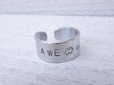 AWETISM awareness autism silver aluminum cuff ring by Amayeli, $10.00