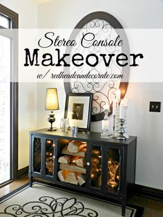 The most brilliant Stereo Console Makeover Idea: faux fireplace. Who wouldn't want one in their house?