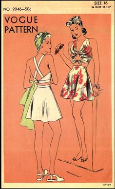Vogue Sewing Pattern #9046 - Ladies Two-Piece Swimsuit as seen in Feb-March Vogue Pattern Book 1942
