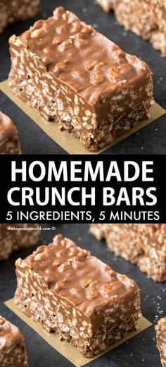 Homemade Crunch Bars recipe made with just 5 ingredients and ready in 5 minutes! Crispy, crunchy and vegan and gluten-free. This recipe is AWARD winning! Smores Dessert, Dessert Bars, Vegan Desserts, Just Desserts, Easy Yummy Desserts, Non Bake Desserts, Yummy Treats, 5 Minute Desserts, No Bake Chocolate Desserts