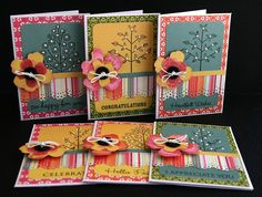 I made 2 of these sets of cards for my daughters teachers this year.  Rather than give chocolates I thought they might be appreciate a gift that won't effect their waist line!!  I used the Hero Arts 'All Occasion' sentiments and 'Creative Trees' set.  The papers are SEI Sunny Day.      Thank you so much for looking!