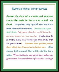 Having visitors for the holidays?  Use this free printable to show kids how to be a Helpful Host/ess for your guests!