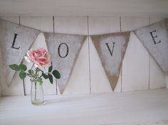 ~ hand painted Burlap Banner Pennant Bunting from funkyshique on Etsy