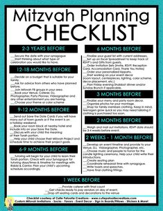 FREE MITZVAH CHECKLIST - Printable Bar and Bat Mitzvah Planning Checklist by Cutie Patootie Creations Invitation and Decor Designer located in Charlotte, NC.