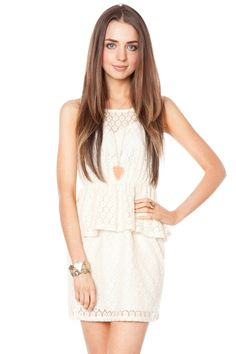 ShopSosie Style : Daisy lace peplum dress in ivory