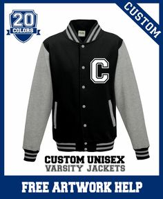 Create a customised varsity jacket today! Enter code SAVE5 for a 5% discounts. Youth and adult sizes